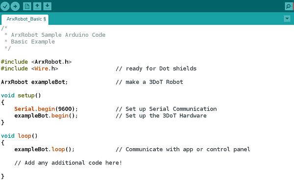 Arduino IDE compatible robot code